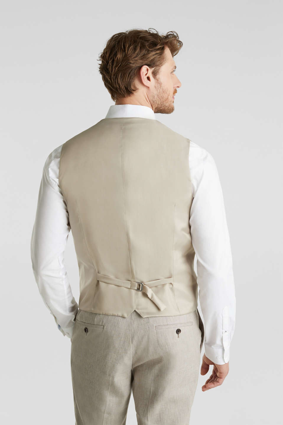 Waistcoat with end-on-end blended linen, SAND 5, detail image number 3