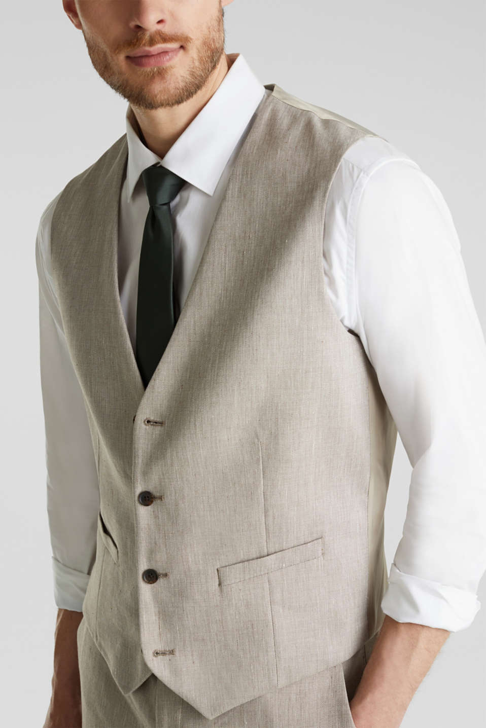 Waistcoat with end-on-end blended linen, SAND 5, detail image number 2