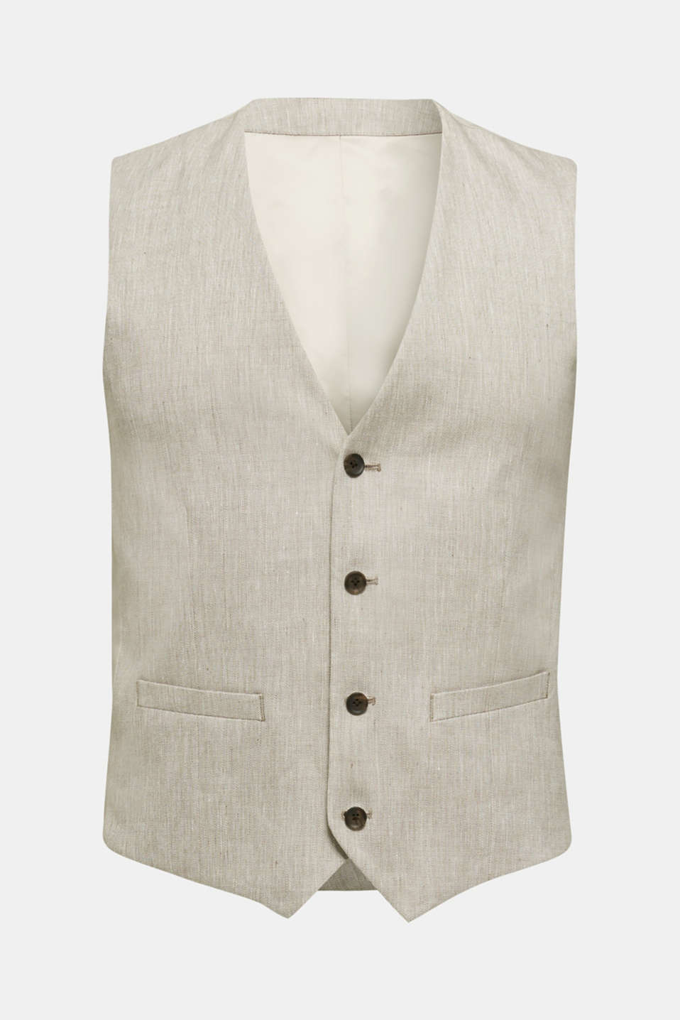 Waistcoat with end-on-end blended linen, SAND 5, detail image number 7