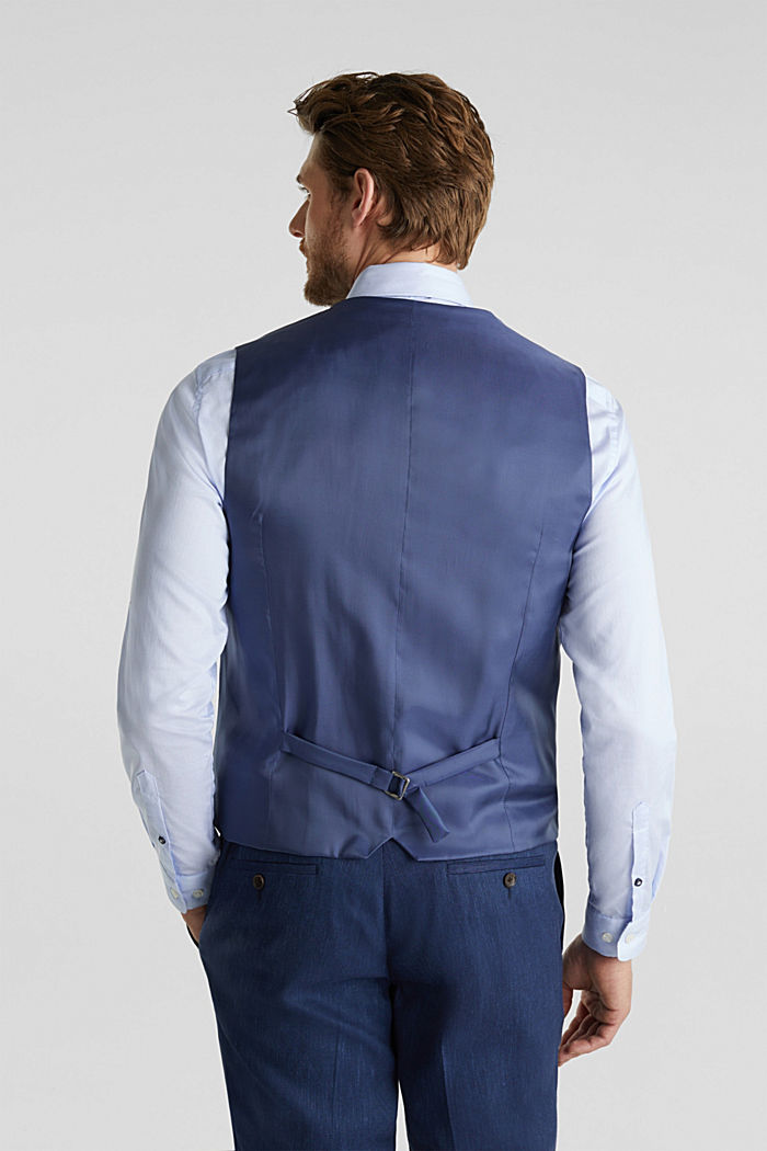 Waistcoat with end-on-end blended linen, DARK BLUE, detail image number 3
