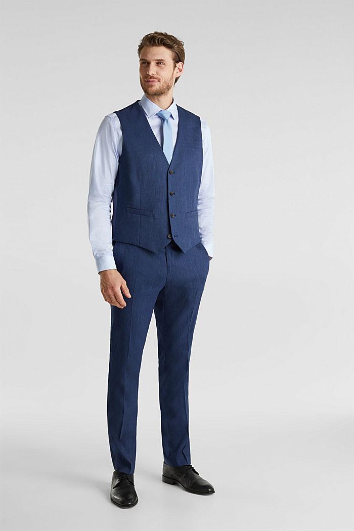 Waistcoat with end-on-end blended linen, DARK BLUE, detail image number 4