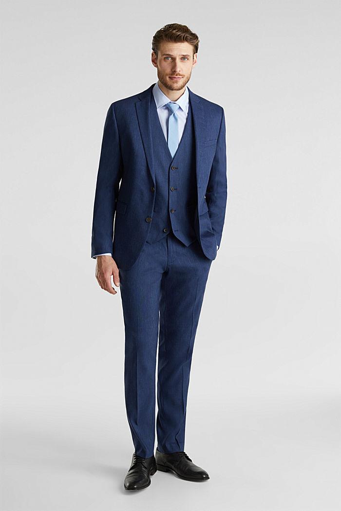 Waistcoat with end-on-end blended linen, DARK BLUE, detail image number 1