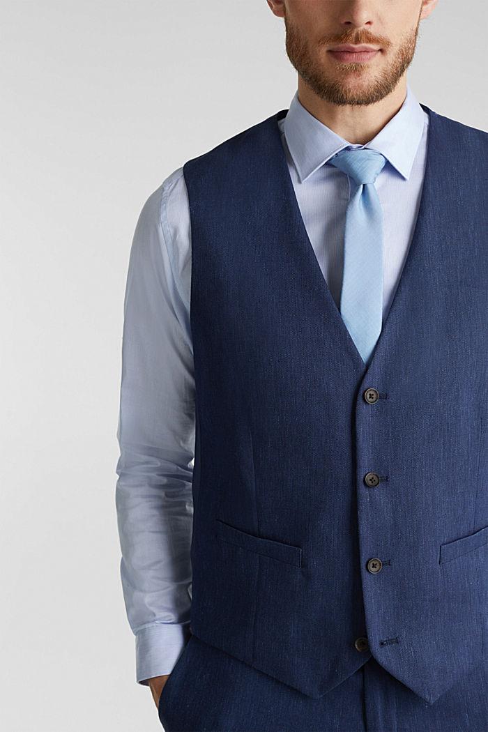 Waistcoat with end-on-end blended linen, DARK BLUE, detail image number 2