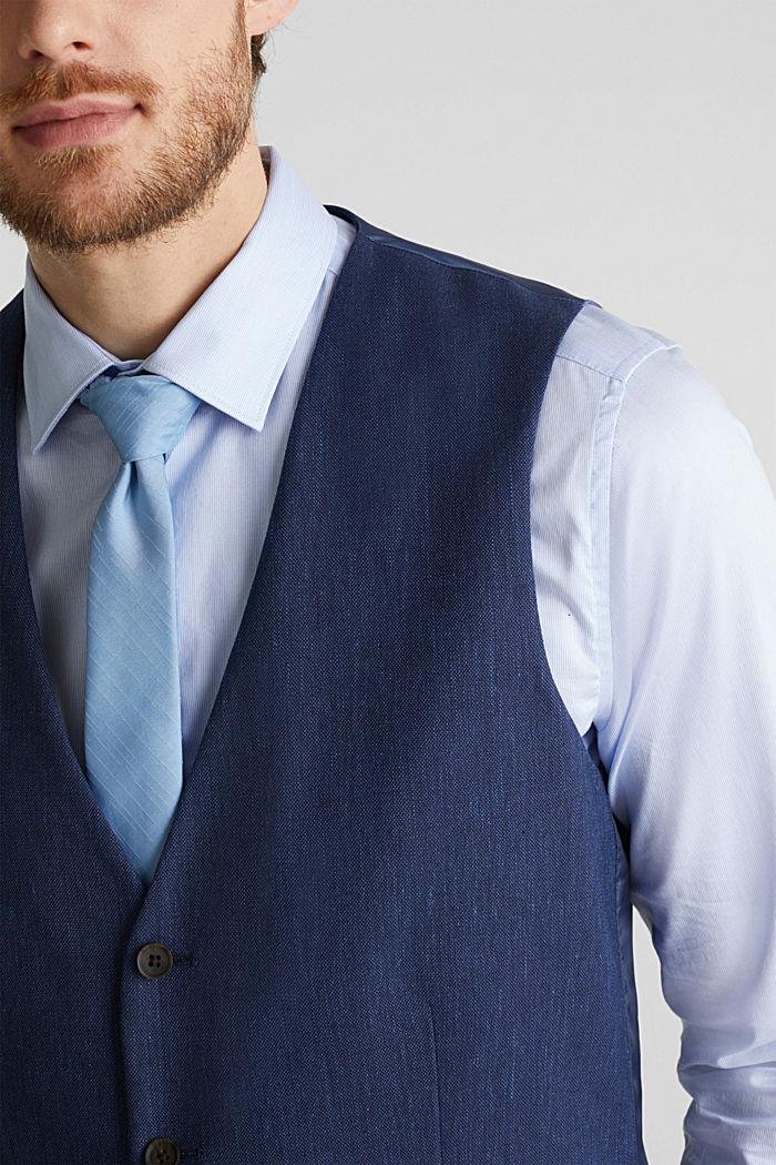 Waistcoat with end-on-end blended linen, DARK BLUE, detail image number 7