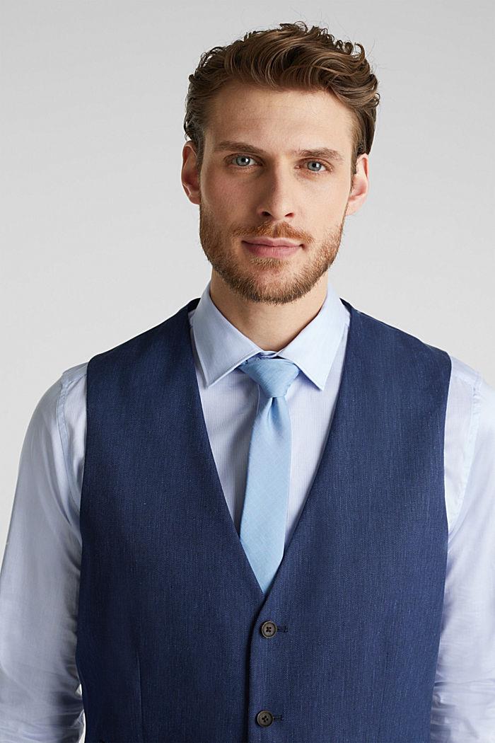 Waistcoat with end-on-end blended linen, DARK BLUE, detail image number 6