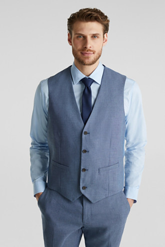 Waistcoat with end-on-end blended linen
