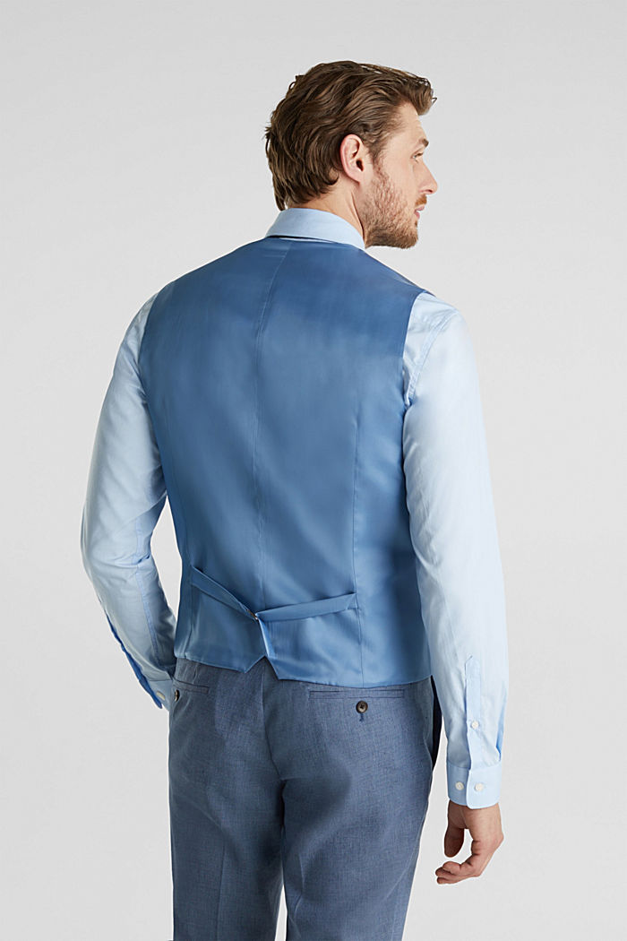 Waistcoat with end-on-end blended linen, BLUE, detail image number 3