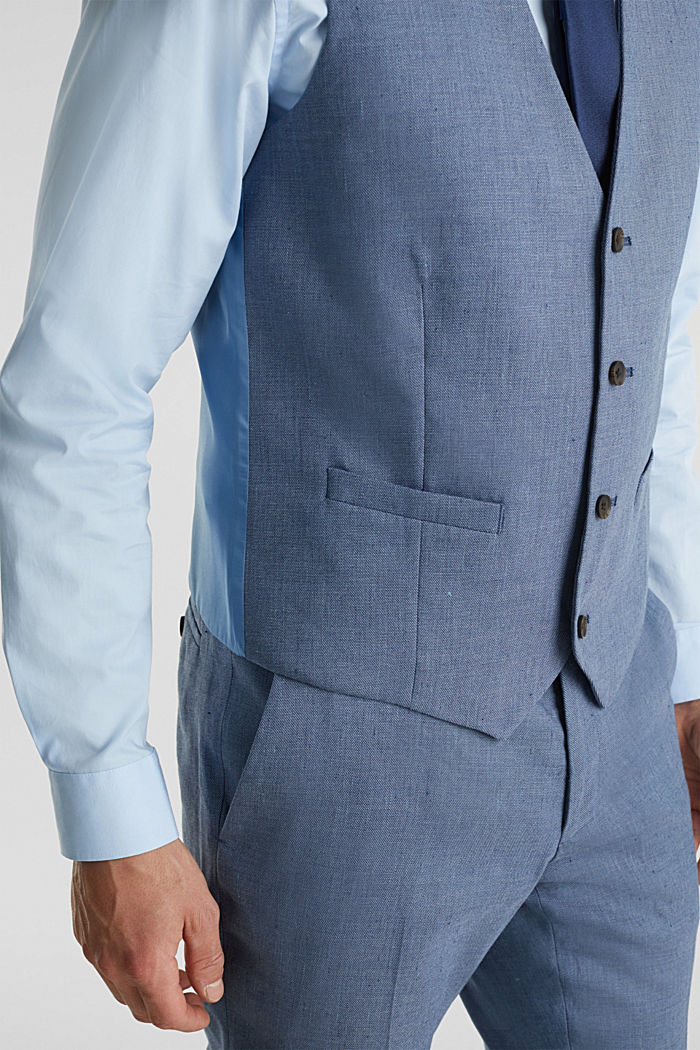 Waistcoat with end-on-end blended linen, BLUE, detail image number 2