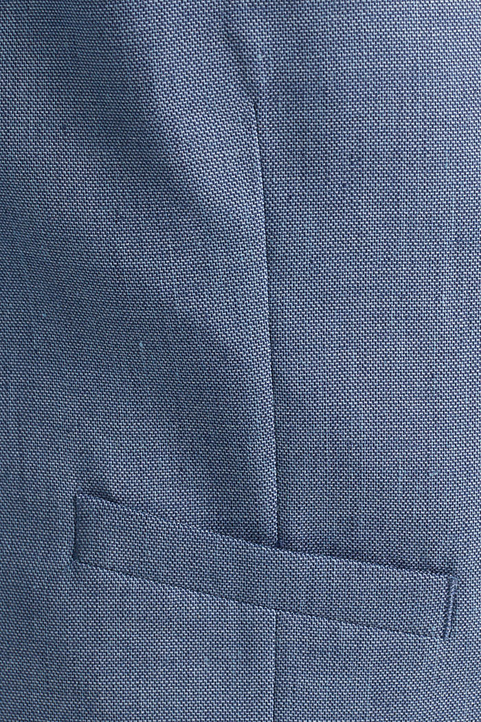 Waistcoat with end-on-end blended linen, BLUE, detail image number 4