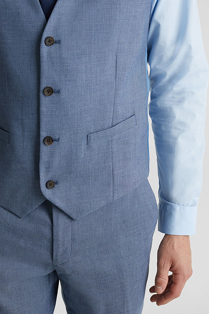 Waistcoat with end-on-end blended linen, BLUE, detail image number 5