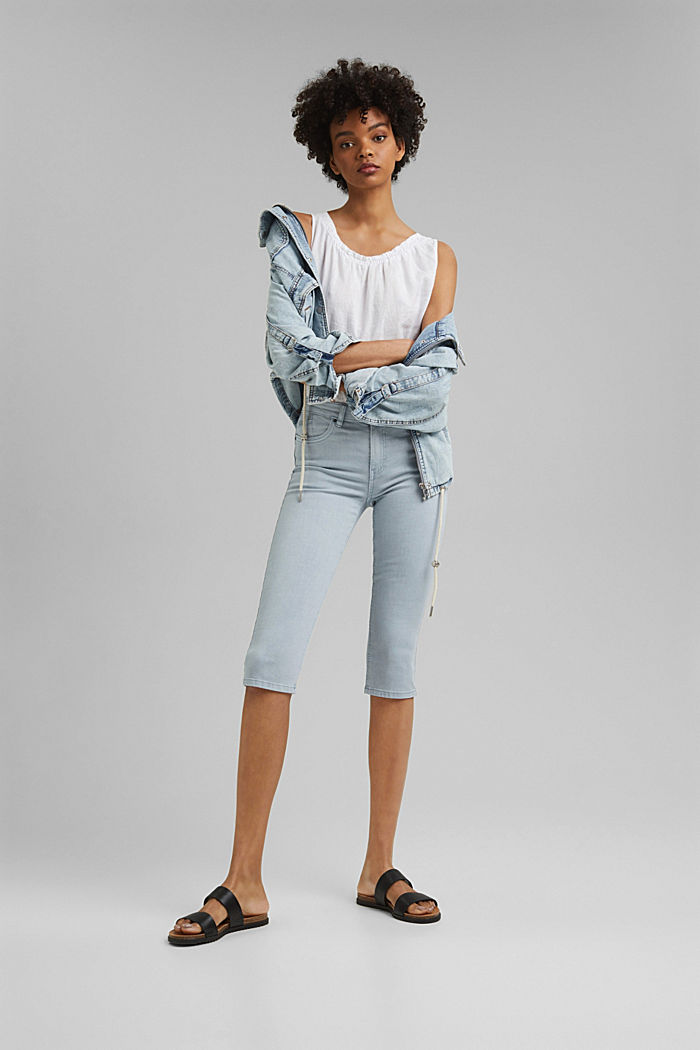 Capri trousers made of organic cotton, LIGHT BLUE LAVENDER, detail image number 1