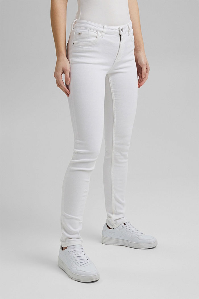 Stretch-Denim aus Organic Cotton, WHITE, overview