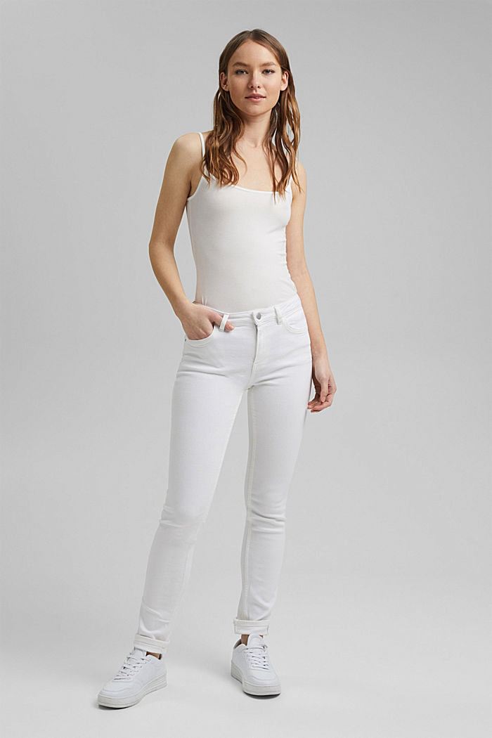 Stretch jeans made of organic cotton, WHITE, detail image number 6