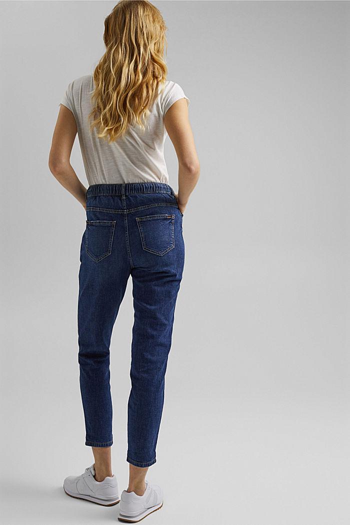 Leinen/Organic Cotton: Jeans im Jogger-Fit, BLUE DARK WASHED, detail image number 3