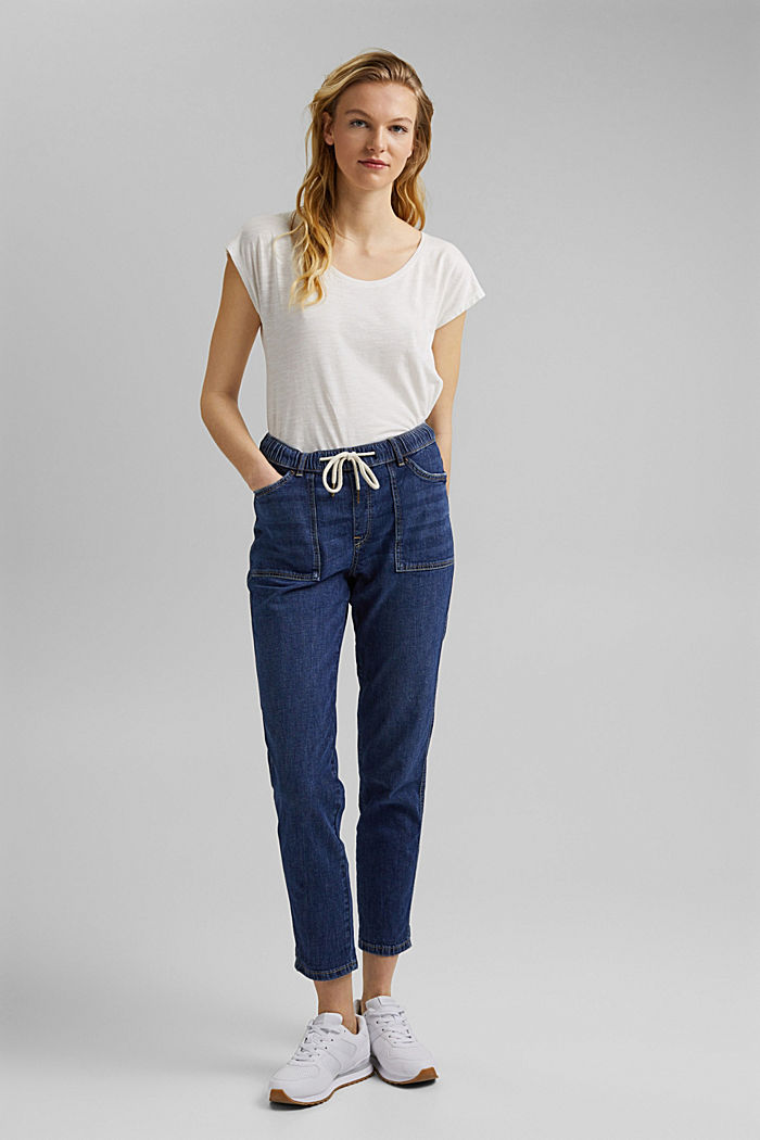 Linen/organic cotton: Tracksuit-style jeans, BLUE DARK WASHED, detail image number 6