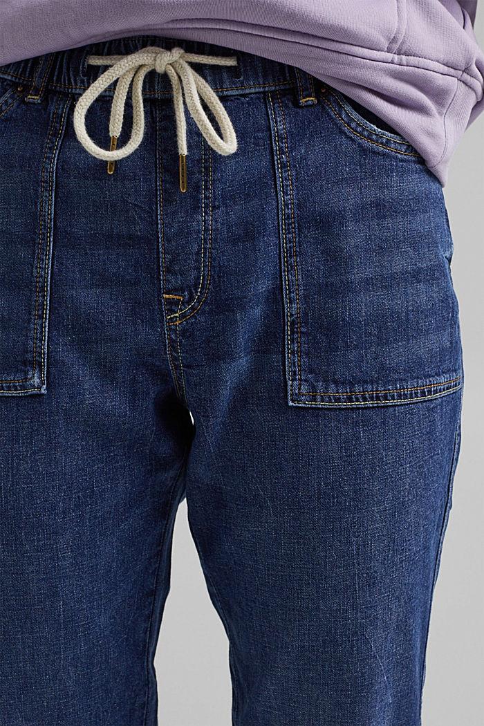 Leinen/Organic Cotton: Jeans im Jogger-Fit, BLUE DARK WASHED, detail image number 2