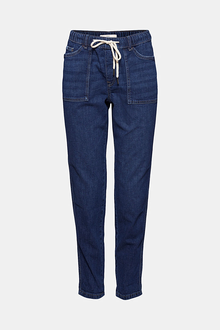 Linen/organic cotton: Tracksuit-style jeans, BLUE DARK WASHED, overview