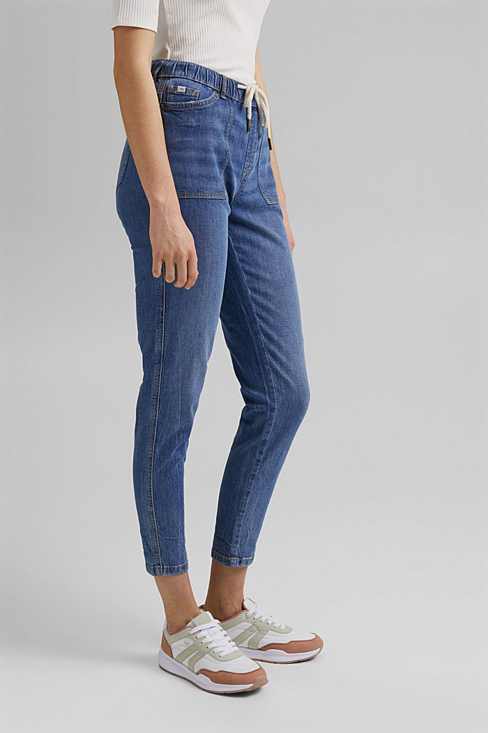 Linen/organic cotton: Tracksuit-style jeans, BLUE MEDIUM WASHED, detail image number 0