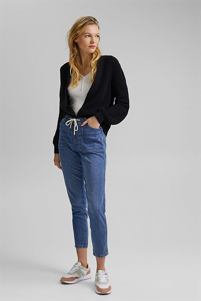 Linen/organic cotton: Tracksuit-style jeans, BLUE MEDIUM WASHED, detail image number 1