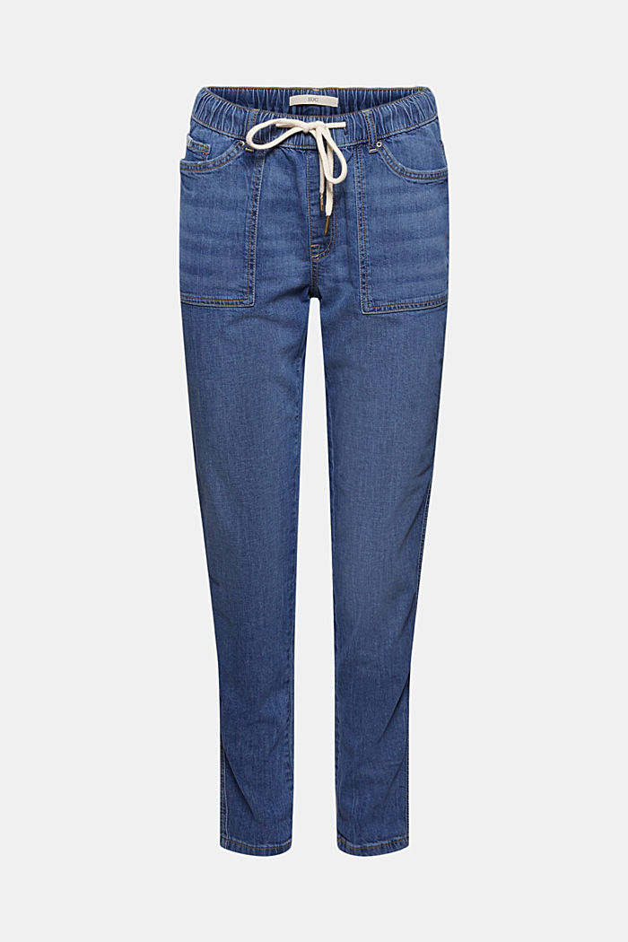 Linen/organic cotton: Tracksuit-style jeans, BLUE MEDIUM WASHED, detail image number 7