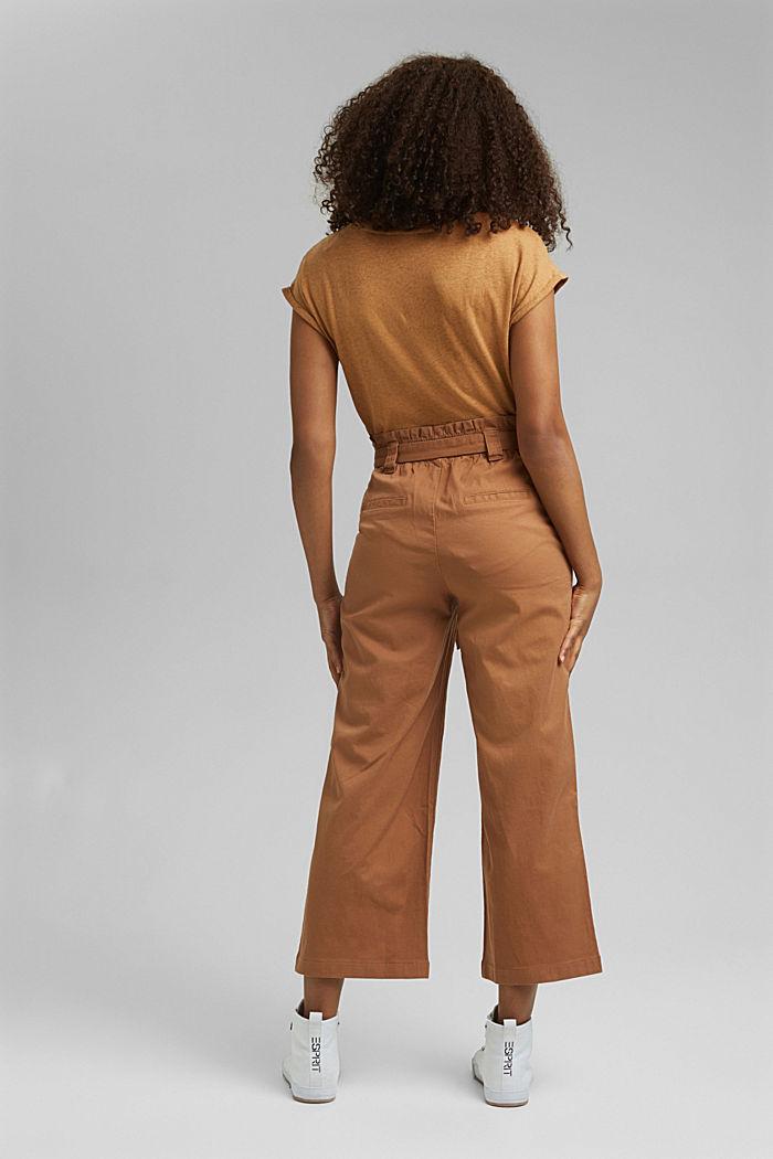 Linen blend: Paperbag culottes, CARAMEL, detail image number 3