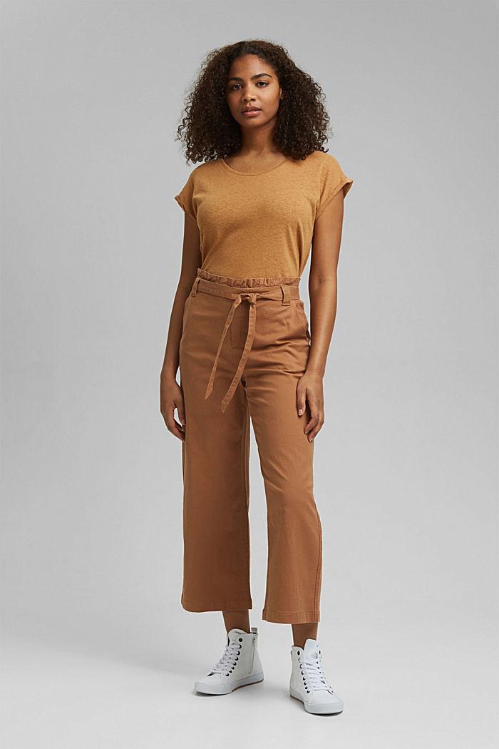 Linen blend: Paperbag culottes, CARAMEL, detail image number 6
