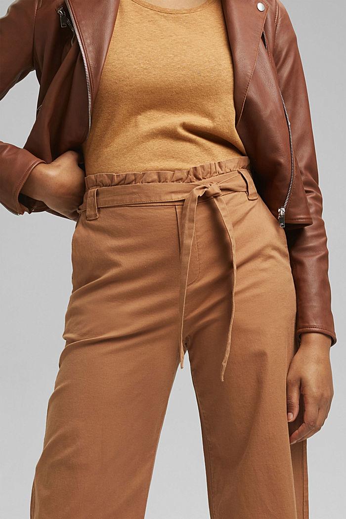 Linen blend: Paperbag culottes, CARAMEL, detail image number 2