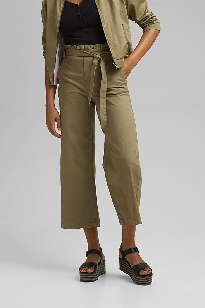 Mit Leinen: Paperbag-Culotte, LIGHT KHAKI, detail image number 0
