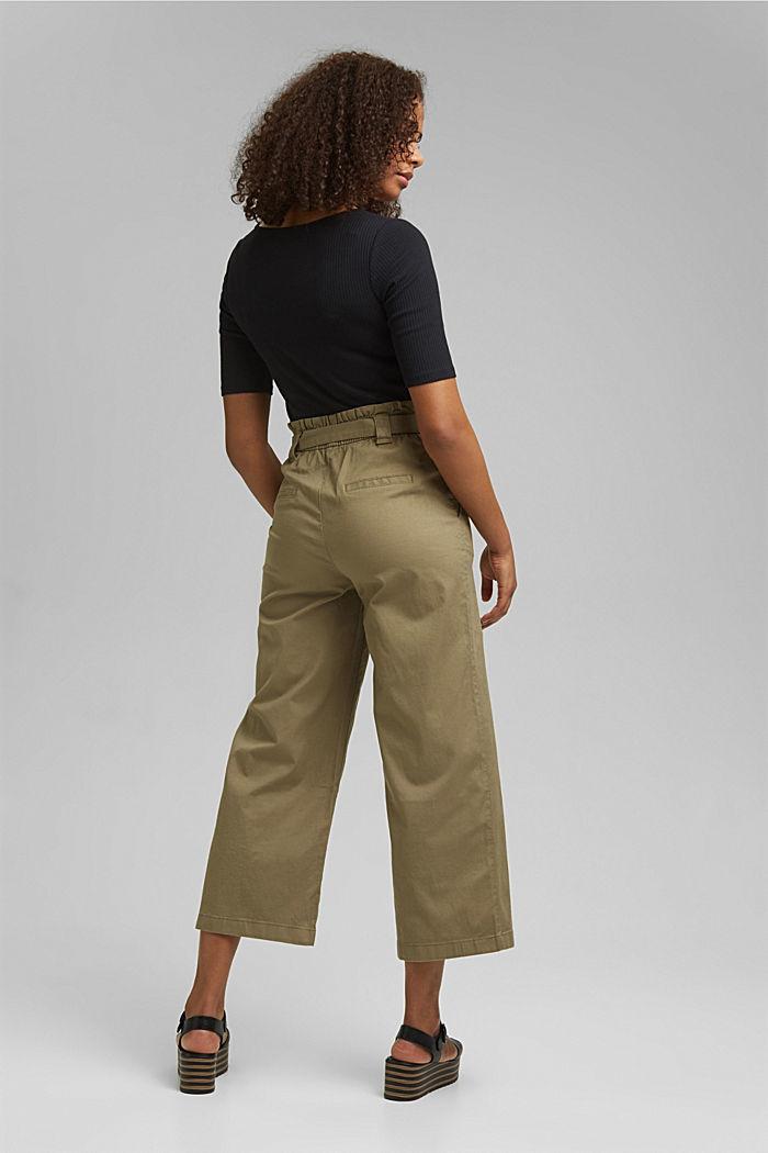 Linen blend: Paperbag culottes, LIGHT KHAKI, detail image number 3