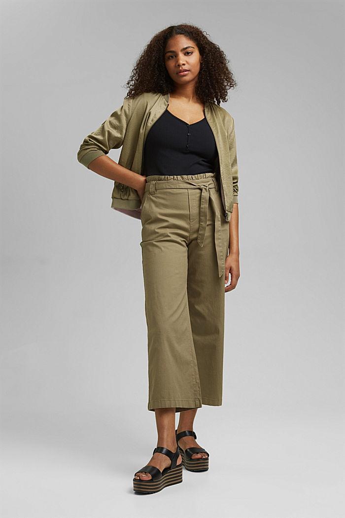 Linen blend: Paperbag culottes, LIGHT KHAKI, detail image number 1