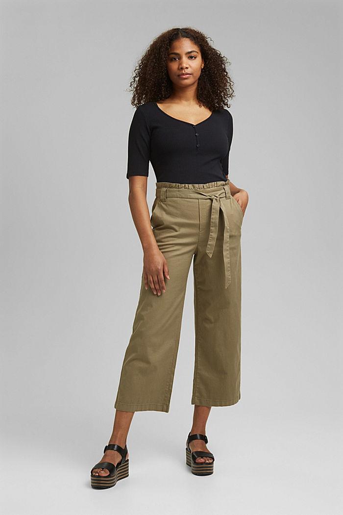 Linen blend: Paperbag culottes, LIGHT KHAKI, detail image number 6