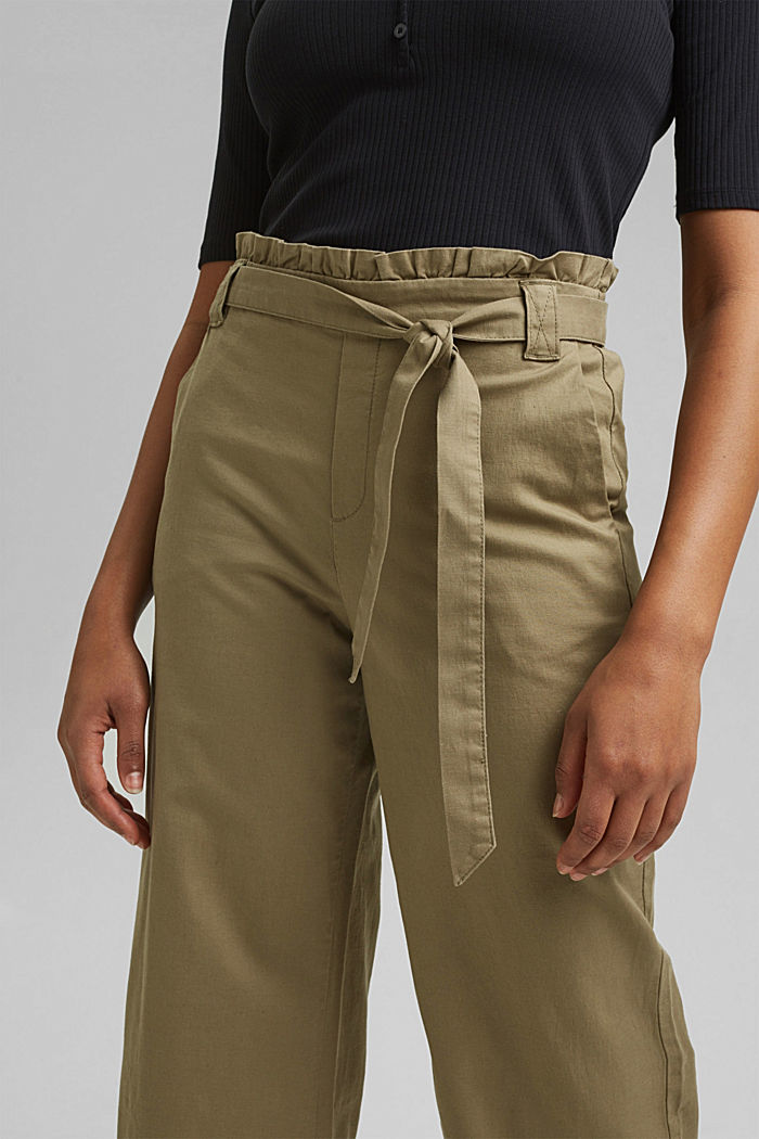 À teneur en lin: jupe-culotte paperbag, LIGHT KHAKI, detail image number 2