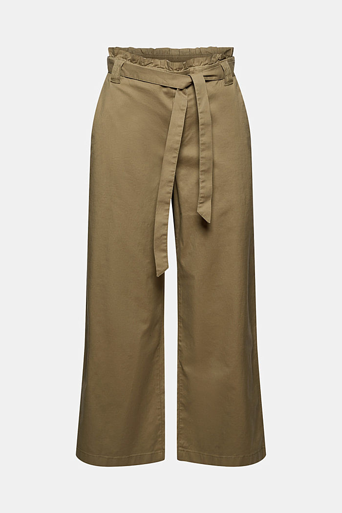 Mit Leinen: Paperbag-Culotte, LIGHT KHAKI, detail image number 7