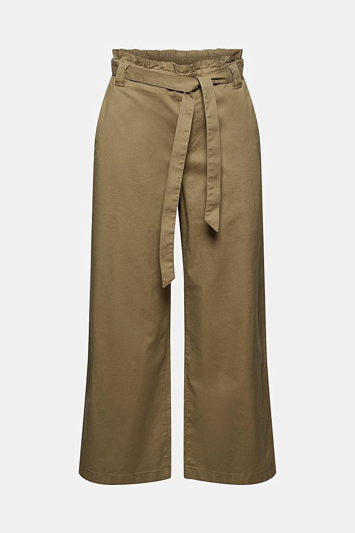 Linen blend: Paperbag culottes, LIGHT KHAKI, detail image number 7
