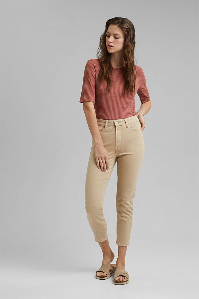 High-waisted trousers with organic cotton, BEIGE, detail image number 1