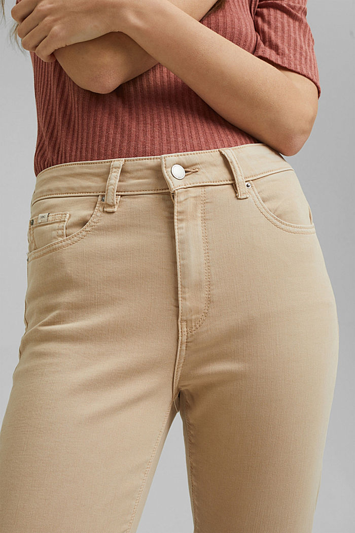 High-waisted trousers with organic cotton, BEIGE, detail image number 2