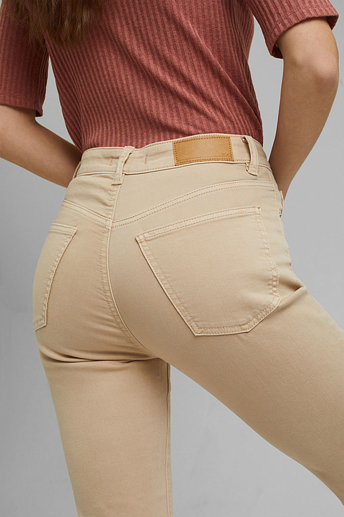 High-waisted trousers with organic cotton, BEIGE, detail image number 5