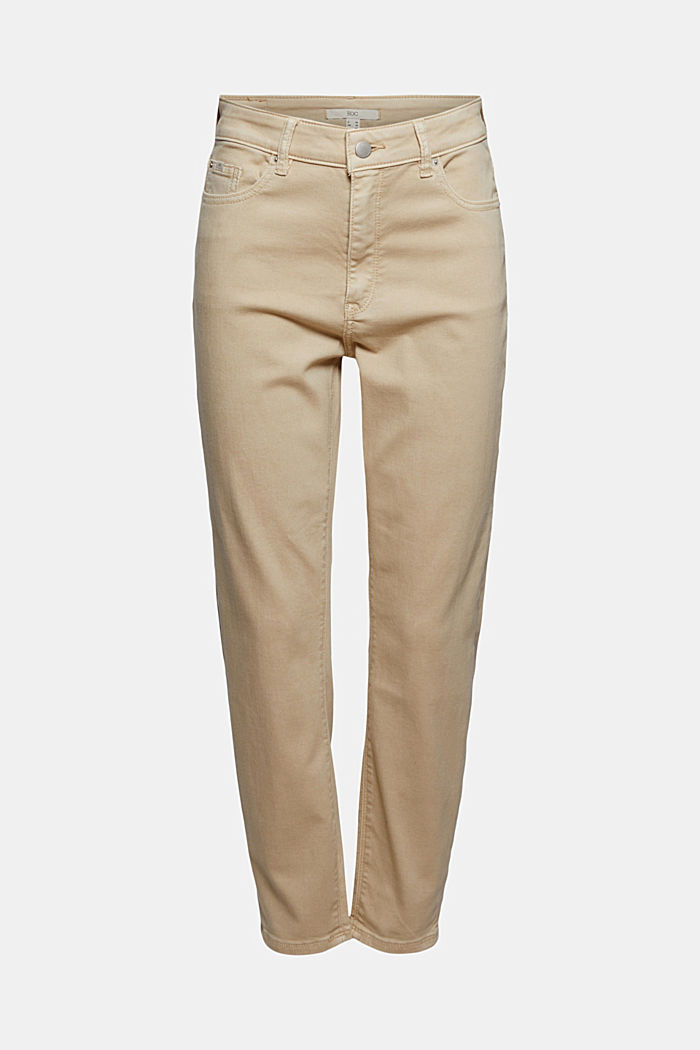 High-waisted trousers with organic cotton, BEIGE, detail image number 7