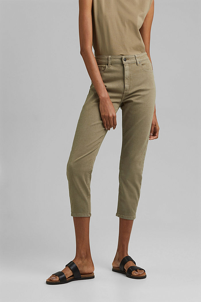 High-waisted trousers with organic cotton, LIGHT KHAKI, detail image number 0