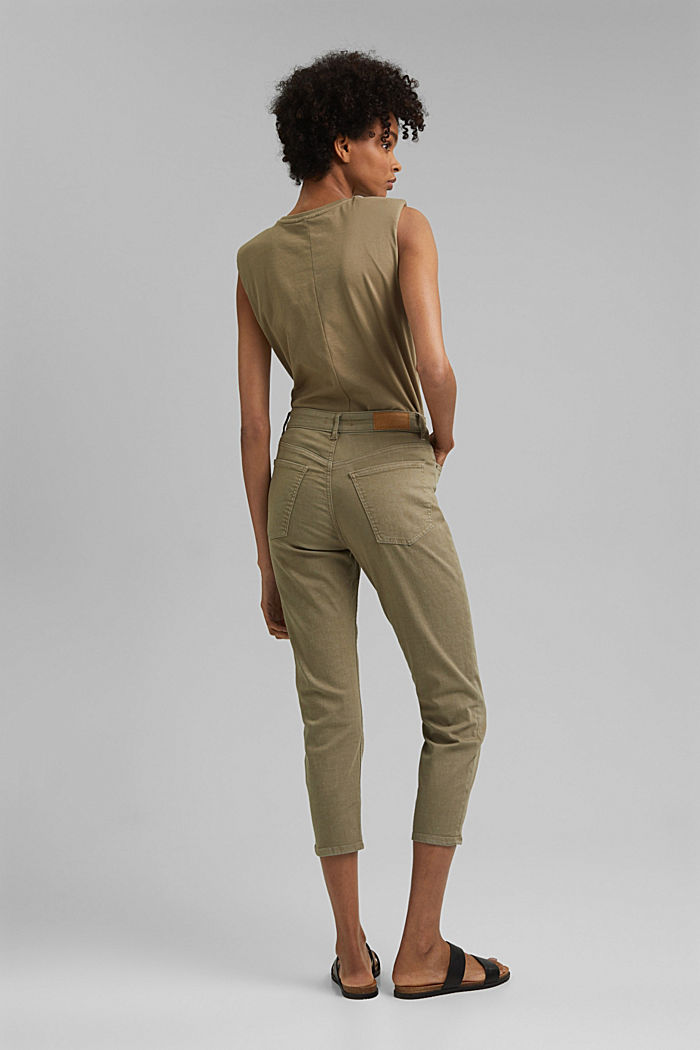 High-waisted trousers with organic cotton, LIGHT KHAKI, detail image number 3