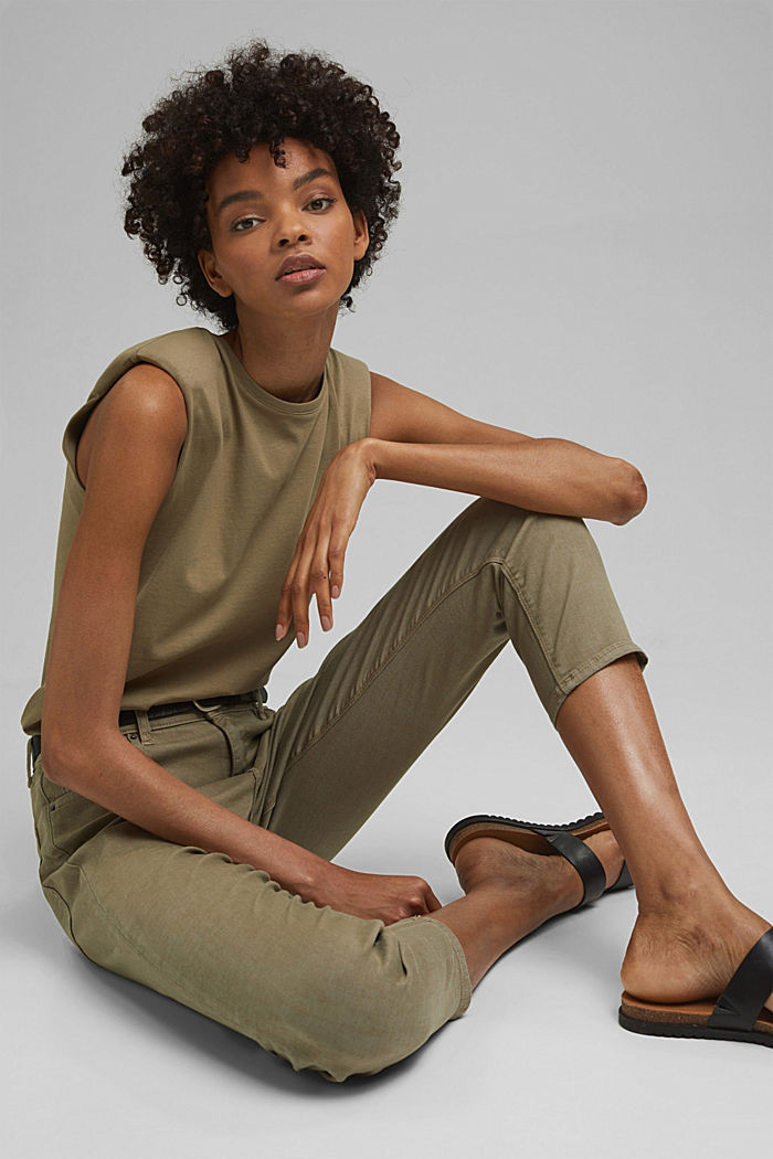 High-waisted trousers with organic cotton, LIGHT KHAKI, detail image number 6