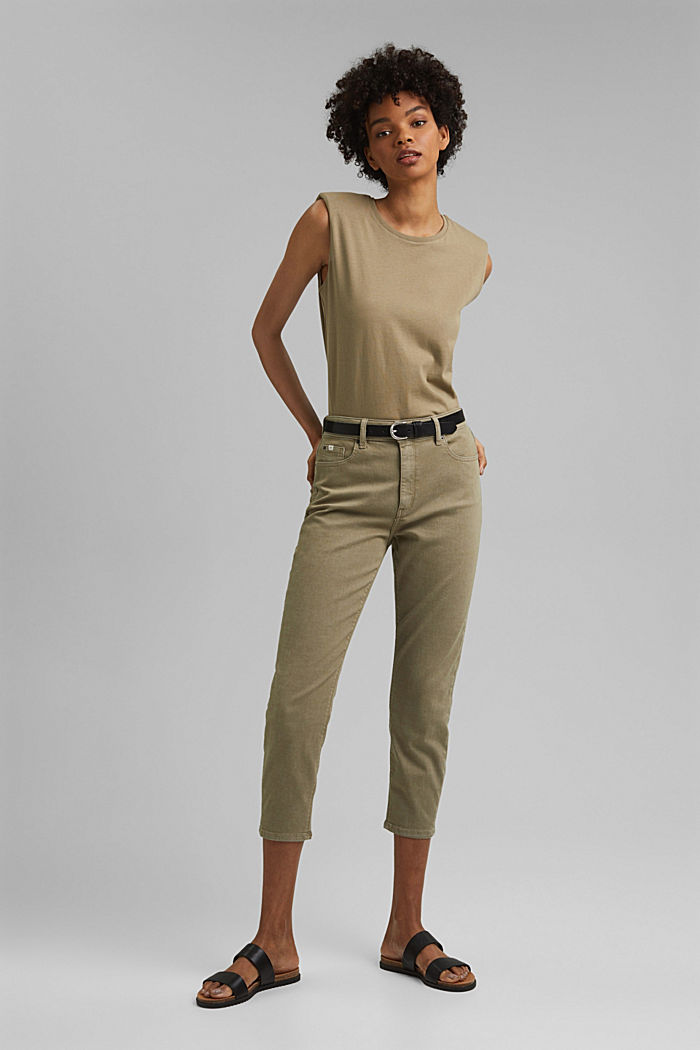 High-waisted trousers with organic cotton, LIGHT KHAKI, detail image number 1