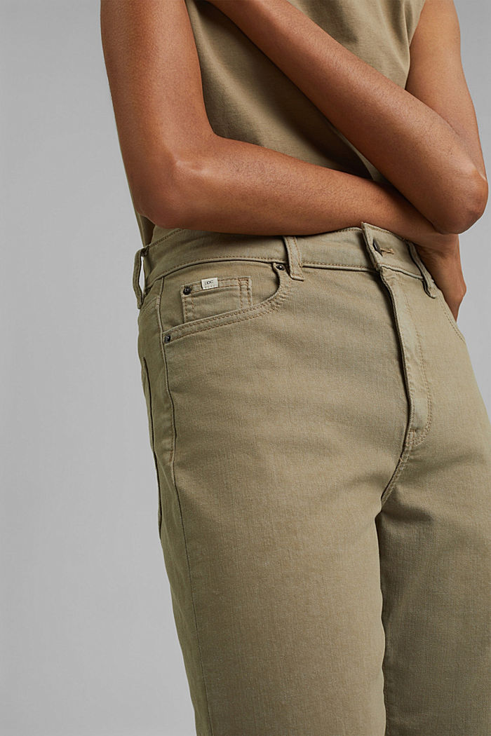 High-waisted trousers with organic cotton, LIGHT KHAKI, detail image number 2