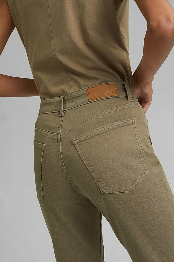 High-waisted trousers with organic cotton, LIGHT KHAKI, detail image number 5