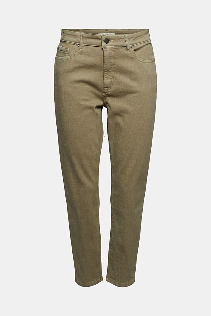 High-waisted trousers with organic cotton, LIGHT KHAKI, detail image number 7