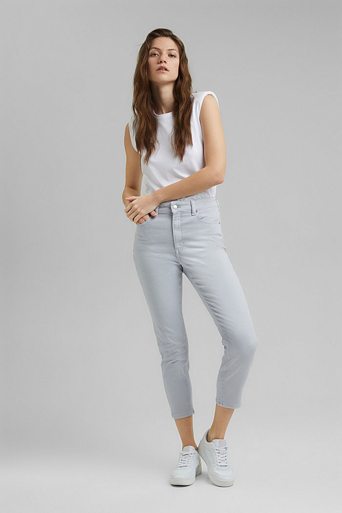 High-waisted trousers with organic cotton, LIGHT BLUE LAVENDER, detail image number 1
