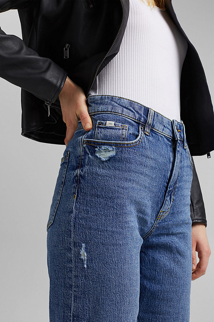 Ankle-length jeans with a straight leg, BLUE MEDIUM WASHED, detail image number 2