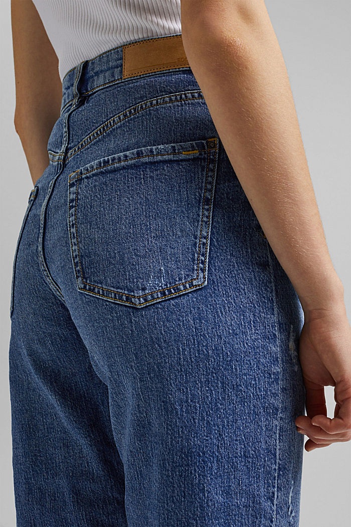 Ankle-length jeans with a straight leg, BLUE MEDIUM WASHED, detail image number 5