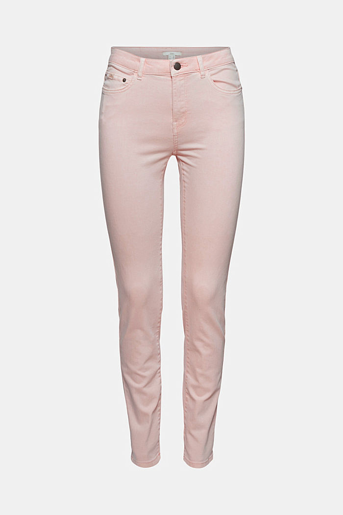 Stretch trousers in organic cotton, LIGHT PINK, overview