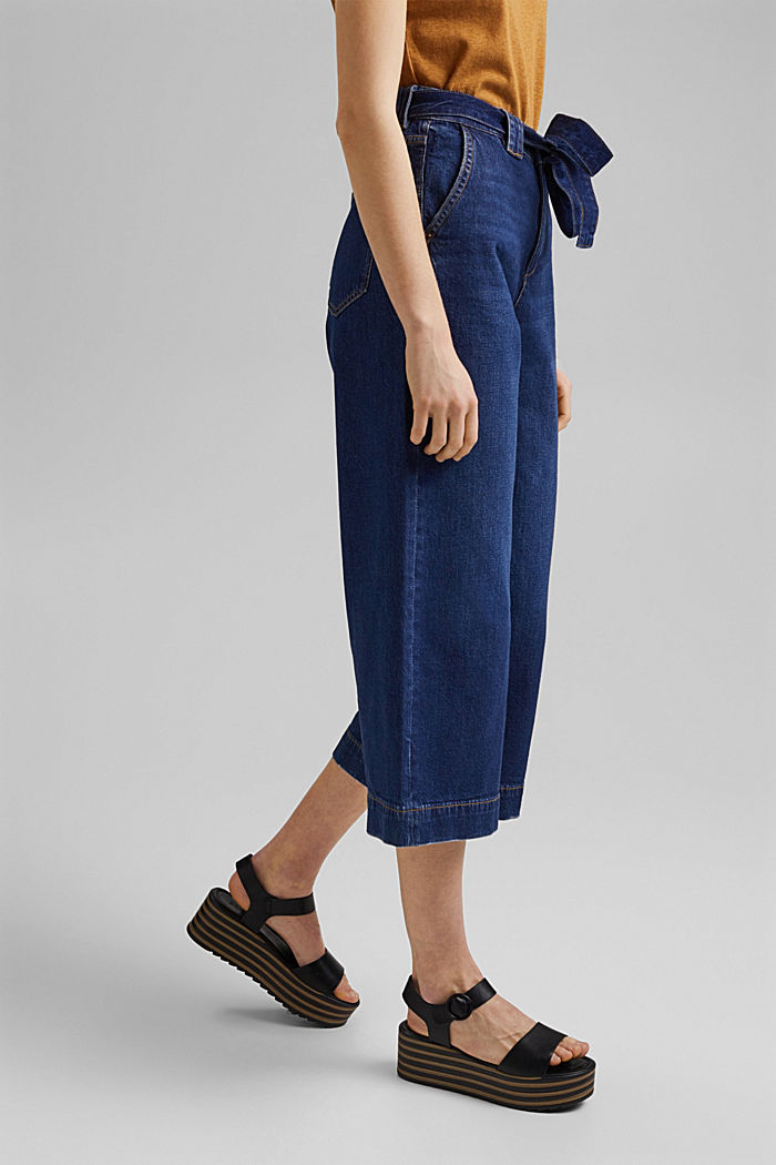 Denim culottes made of organic cotton, BLUE DARK WASHED, detail image number 0